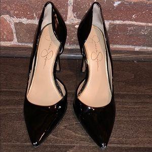 Jessica Simpson Black Patin Leather Pumps